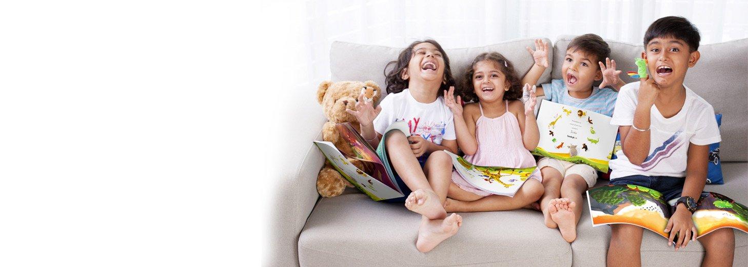 siblings reading their perosnliased book